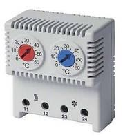 Сдвоенный термостат, диапазон температур для NC контакта: 10-50°C; для NO: 20-80°C, DKC, RAM klima