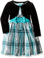 Платье Bonnie Jean Girls' Taffeta Plaid Cardigan Dress 5 лет