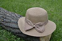 Стильная женская летняя соломенная шляпа с коричневым бантом