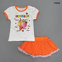 """Летний костюм """"Мороженое"""" для девочки. 68, 74, 80, 86 см, фото 1"""