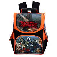 Школьный рюкзак для мальчиков младших классов Winner Stile, черный с оранжевым