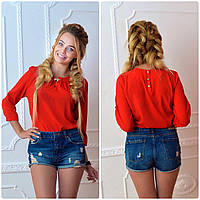 Блузка с брошкой бант (арт.779)  цвет красный, фото 1