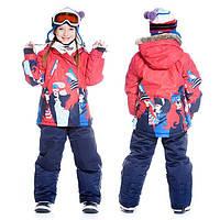 Зимний комплект для девочки от 2 до 14 лет (куртка, полукомбинезон, манишка) ТМ Deux par Deux Синий+красный F811-481