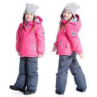Зимний комплект для девочки от 2 до 5 лет (куртка, полукомбинезон) ТМ Deux par Deux Серый+розовый C803-493