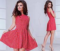 Женское классическое платье в горошек 2 цвета