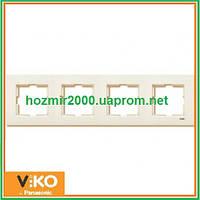 Четверная горизонтальная рамка Viko Karre крем
