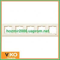 Пятерная горизонтальная рамка Viko Karre крем