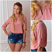 Блузка с брошкой бант (арт.779)  цвет розовая пудра