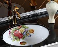 Керамічна Чаша врізна - овальна квіти 00111