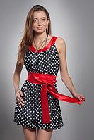 Воздушное летнее шифоновое женское платье с атласным поясом