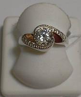 Кольцо из серебра с золотом и белым камнем Завиток