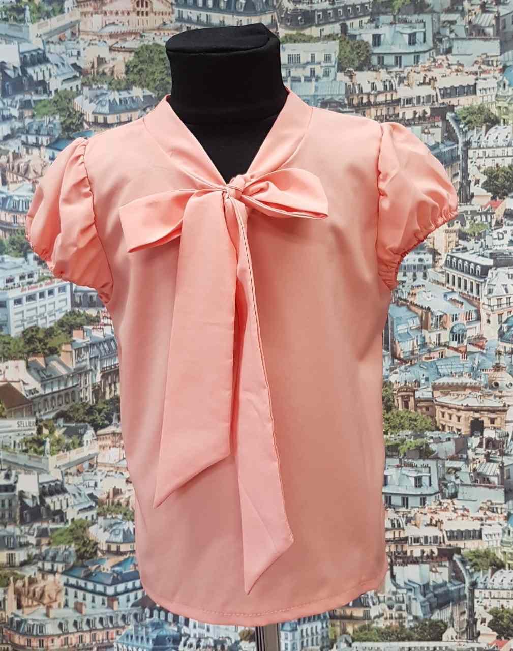 Детская блузка Бант  р.122-146 персиковый