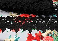 """Кружево макраме """"цветочек"""" черное (ширина 10см)"""