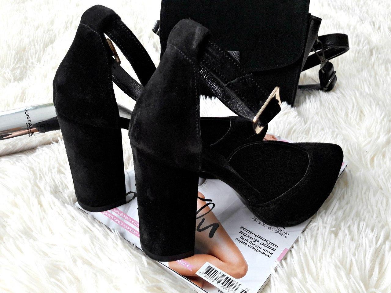 6ae6b9a18 Женские туфли босоножки с закрытой пяткой на толстом устойчивом каблуке с  ремешком черные замшевые