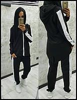 Стильный женский спортивный костюм двойка штаны кофта с капюшоном чёрный с белыми лампасами SM ML, фото 1