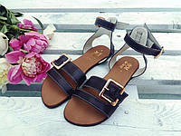 Легкие удобные женские яркие летние кожаные босоножки на тонкой подошве черные кожаные