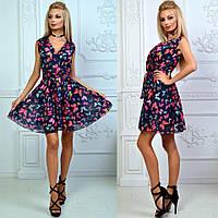 Платье из шифона с цветочным принтом арт 774-30