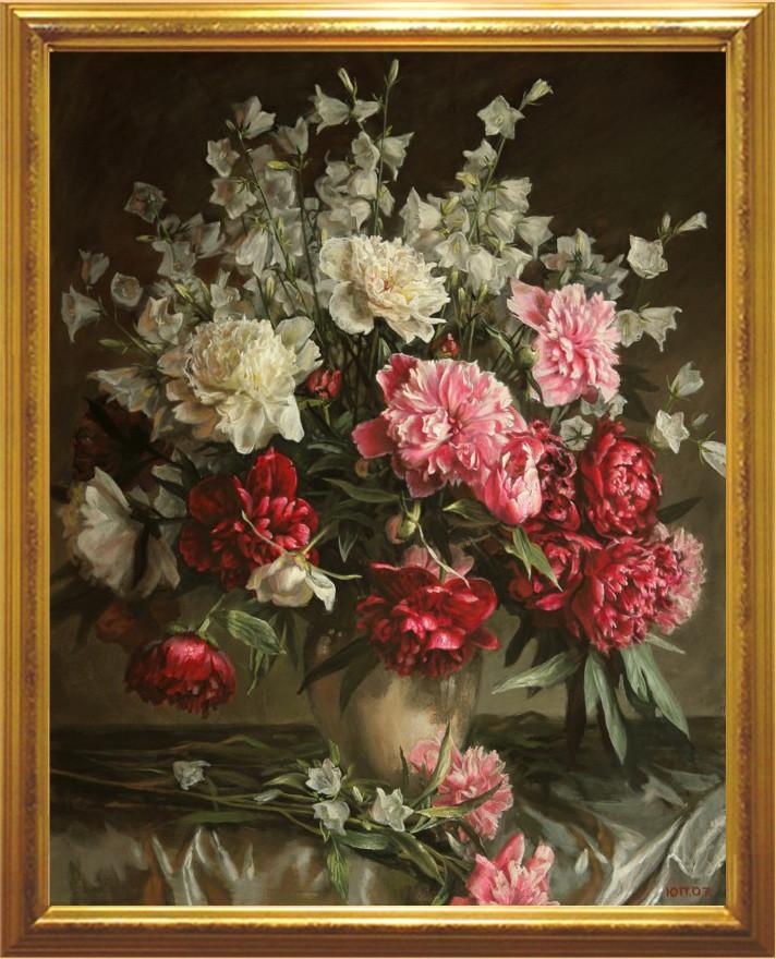 Репродукция картины современных художников «Букет с красными пионами» 65 х 80 см