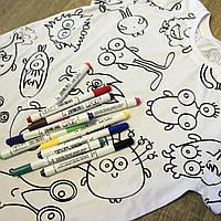 Футболка раскраска детская белого цвета принт Монстры Пришельцы Инопланетяне набор 10 разноцветных маркеров