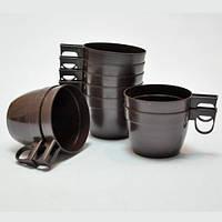 Чашка РР 180мл коричневая/белая 30шт/уп
