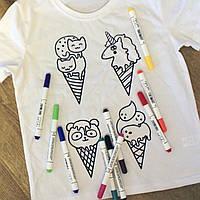 Футболка раскраска детская белого цвета для девочекс принтом Мороженое с набором 3 разноцветных маркера