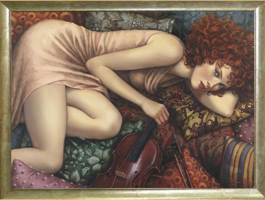 Репродукция картины  «Она с красной виолончелью» 60 х 80см