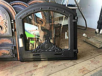 Дверцы для камина печи барбекю 500*500 мм. Печная дверца со стеклом