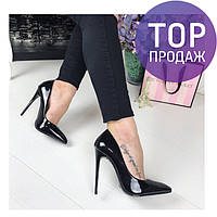 Женские туфли лодочки, эко лак, черные с перламутром / туфли для девочек, шпилька 12 см, стильные