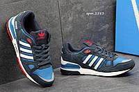 Мужские кроссовки  Adidas Zx 750  темно синие с голубым, замш +плотная сетка  (запасные шнурки)
