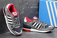 Мужские кроссовки  Adidas Zx 750 серые с белым, замш +плотная сетка  (запасные шнурки)