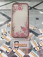 Чехол силикон с камнями для Iphone 5/5s бронза