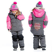 Зимний комплект для девочки от 2 до 14 лет (куртка, полукомбинезон, манишка) ТМ Deux par Deux Серый G812-197