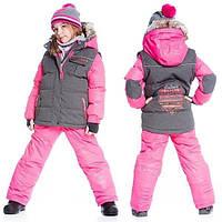 Зимний комплект для девочки от 2 до 4 лет (куртка, полукомбинезон, манишка) ТМ Deux par Deux Розовый+серый G812-002A