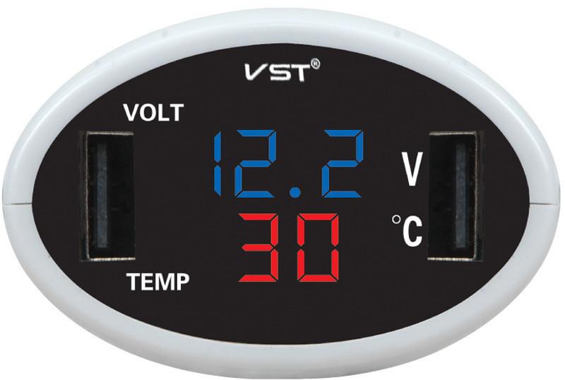 Часы электронные в автомобиль VST 708-5 (синий / красный) -  интернет-магазин «sGen» в Днепре
