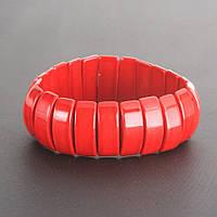 Браслет красный Коралл (пресс.) на резинке звено 2х0,8см