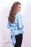 Голубая рубашка с бантом