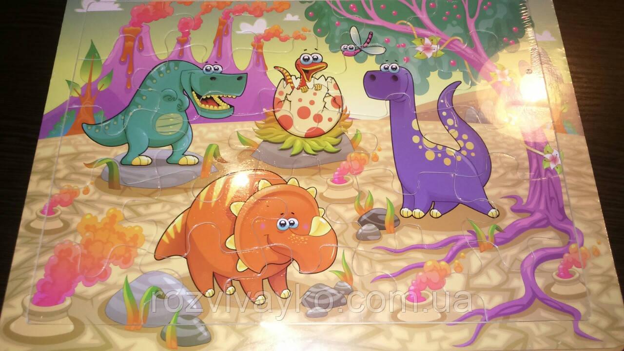 Деревянный пазл в рамке Динозавры, 25 деталей