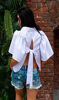 Рубашка свободного кроя с бантом белая