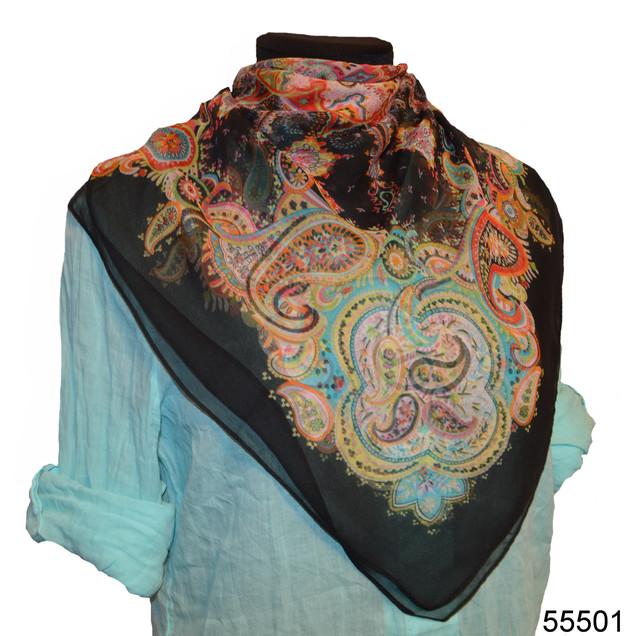 Купить легкий черный женский шелковый платок 1