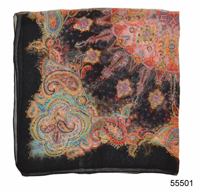 Купить легкий черный женский шелковый платок 2