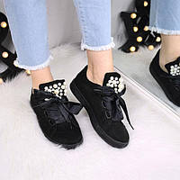 6caa98409452 Кроссовки криперы под Puma Rihanna Suede черные жемчуг 3448, спортивная  обувь