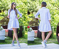 Модное платье в полоску с заниженной линией юбки.  Ткань тоненький коттон