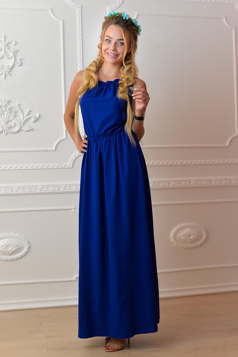 Платье длинное, М-1, цвет электрик