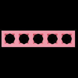 Рамка пятерная Gunsan Moderna Colorline розовая, фото 2