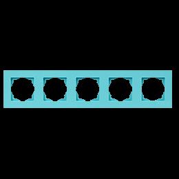 Рамка пятерная Gunsan Moderna Colorline бирюзовая