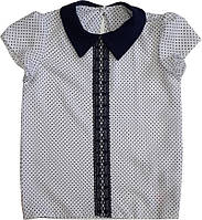 Блуза школьная с коротким рукавом белая для девочки ТМ Newpoint 128 134 140 146