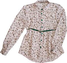 Блуза школьная с длинным рукавом коралловая для девочки ТМ Newpoint 128 140 152