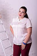 Блузка шелковая белая с украшением с 48-74 размер, фото 1