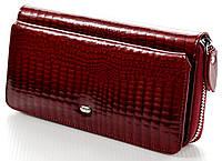 Женский кожаный кошелек клатч ST на молнии с визитницей лаковый, фото 1