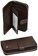 Женский кожаный кошелек Dr.Bond на молнии с визитницей коричневый, фото 1